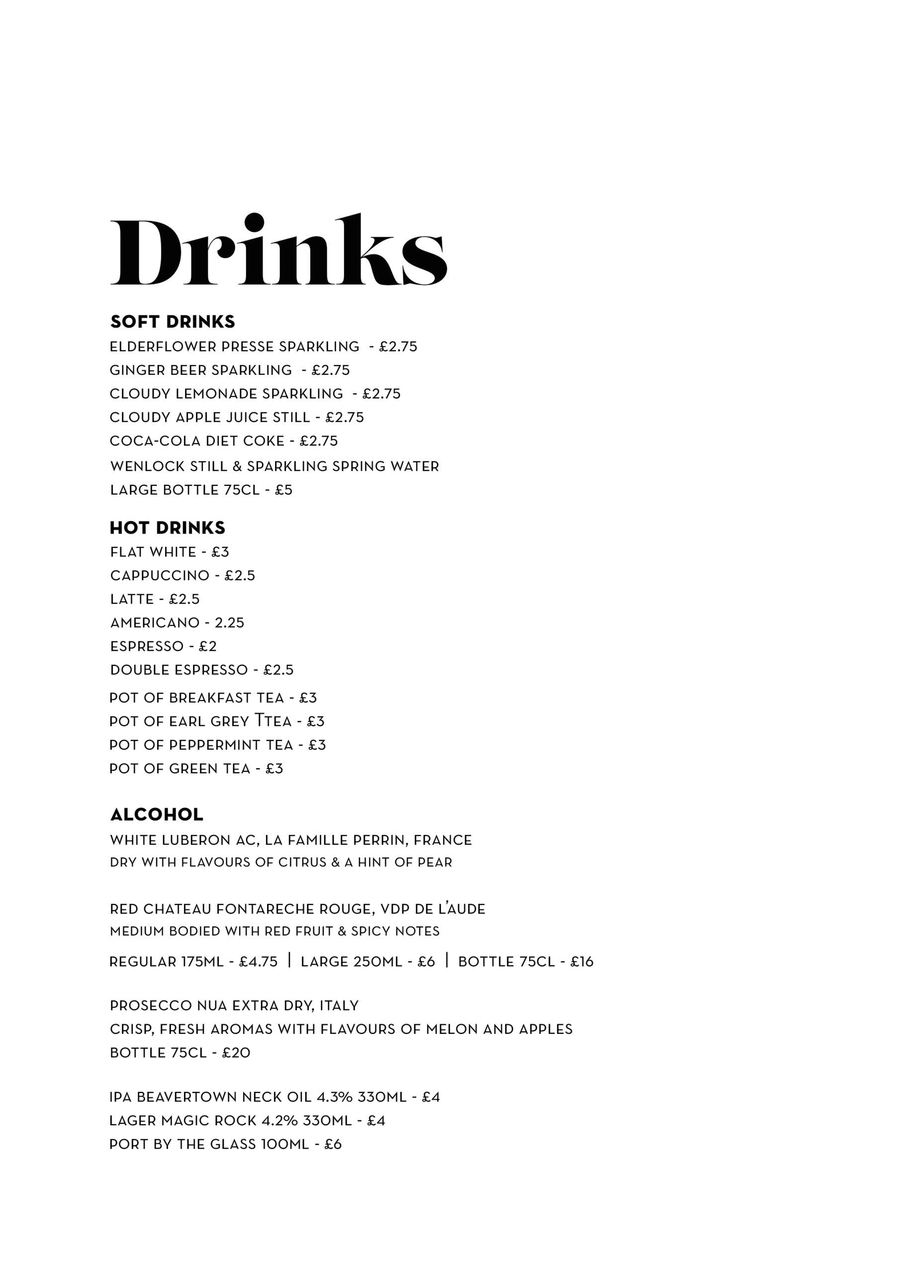 Drinks Menu - The Cheese Society Cafe